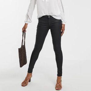 Mango Denim Shiny Coated Black Skinny Jeans